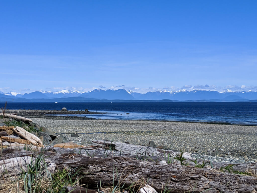 Driftwood lined rocky beach with calm ocean and backdrop of snow capped mountains
