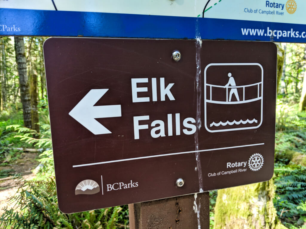 Brown Elk Falls sign, with arrow directing hikers