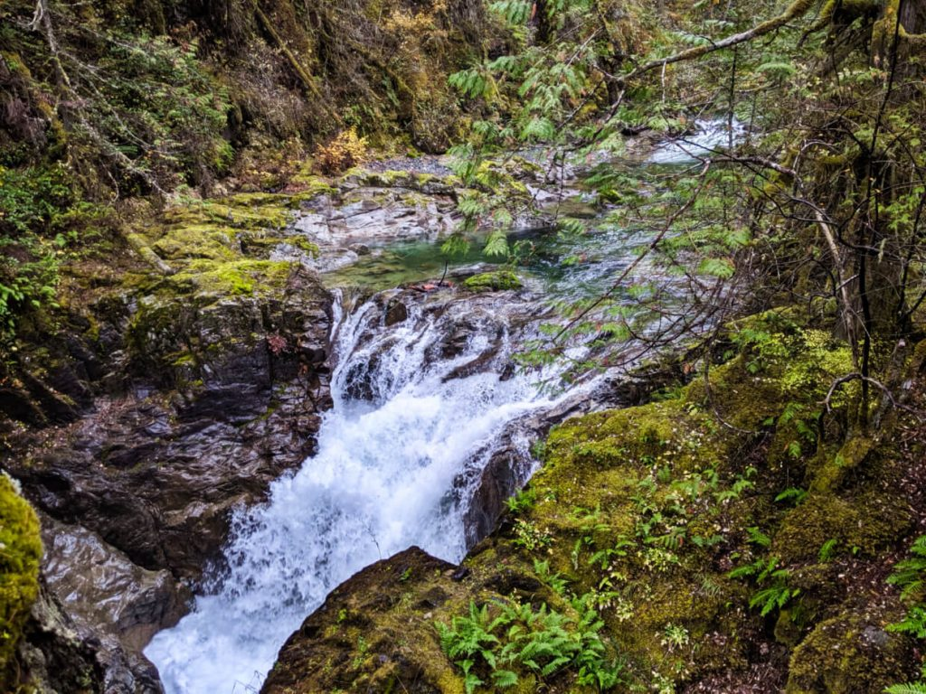 Side view of short waterfall rushing into canyon, surrounded by moss and wet rock