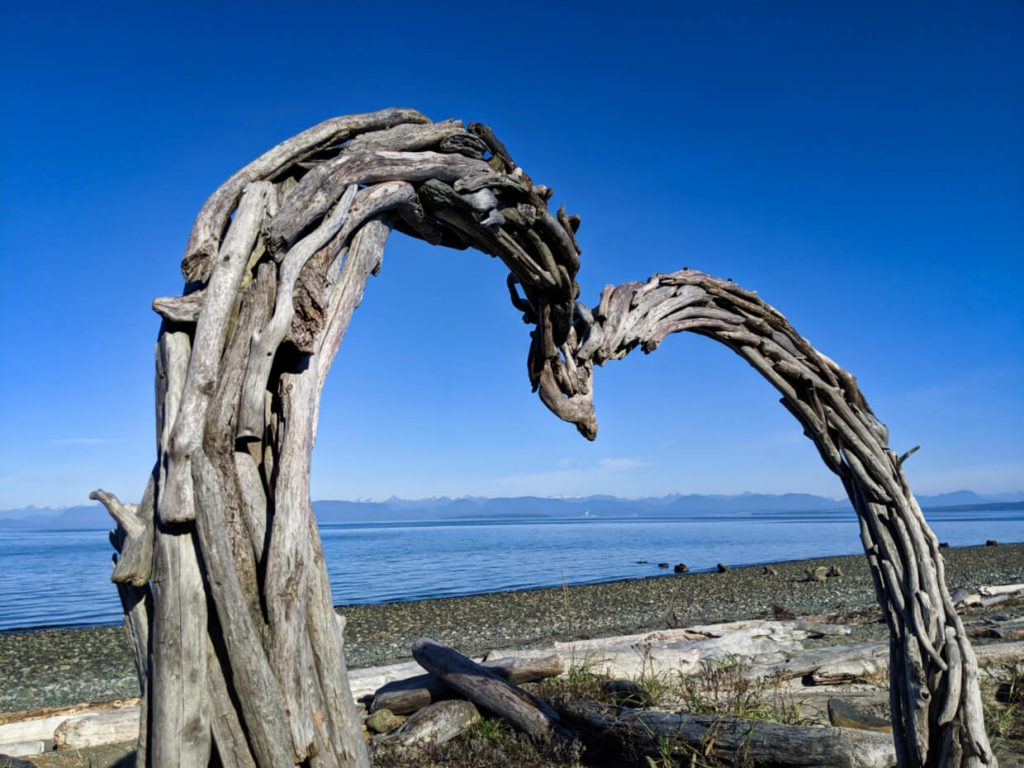 Heart shaped driftwood sculpture on rocky beach, with ocean and mountains in background