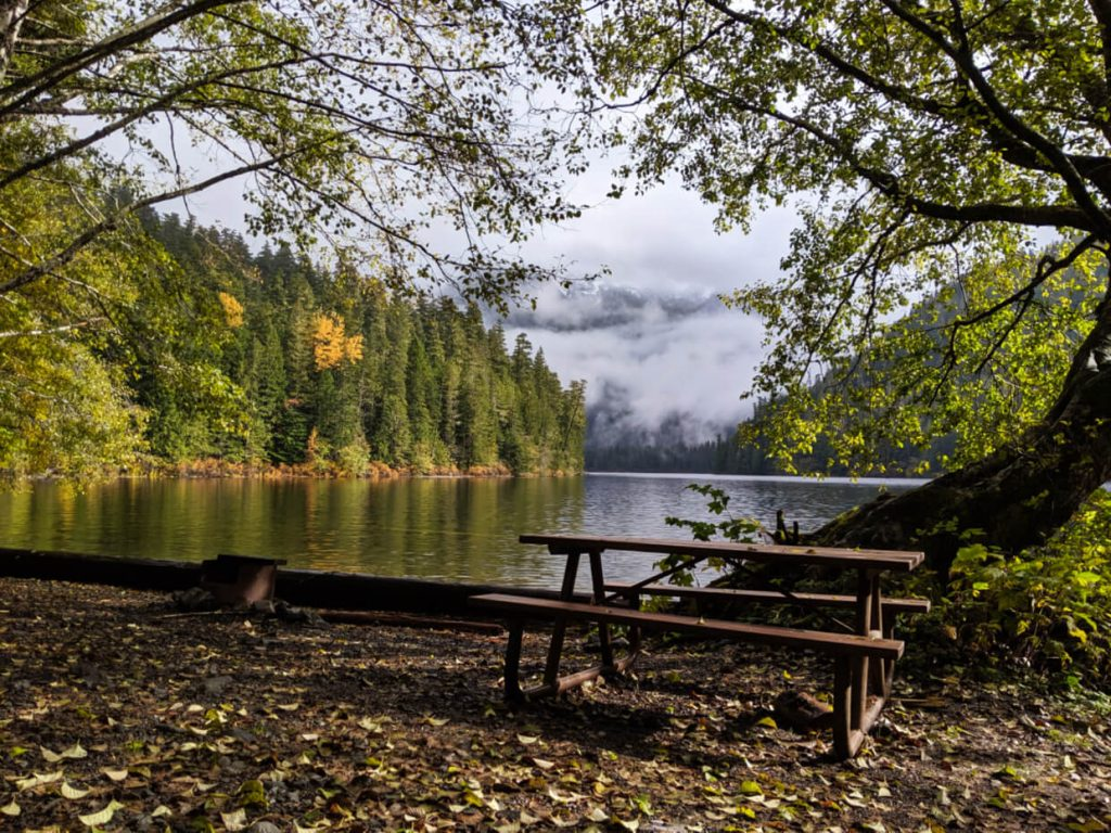 A picnic table set next to lake at campground
