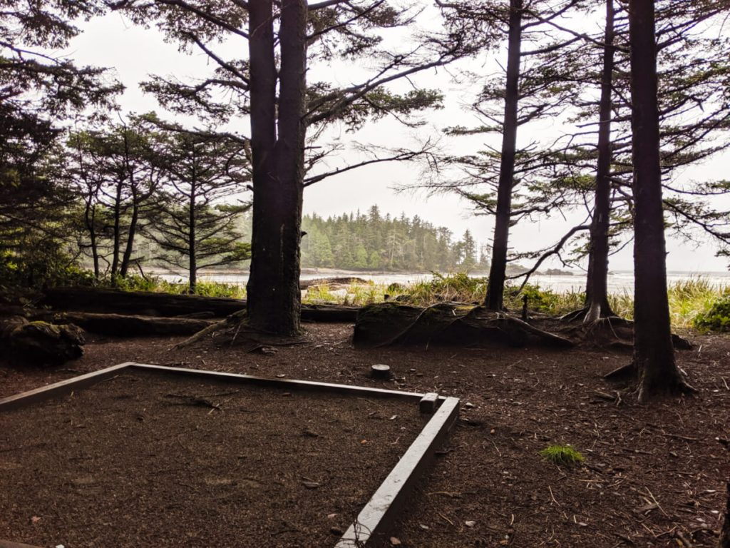 View from tent pad towards a windswept sandy beach with driftwood and the sun lowering behind the headland
