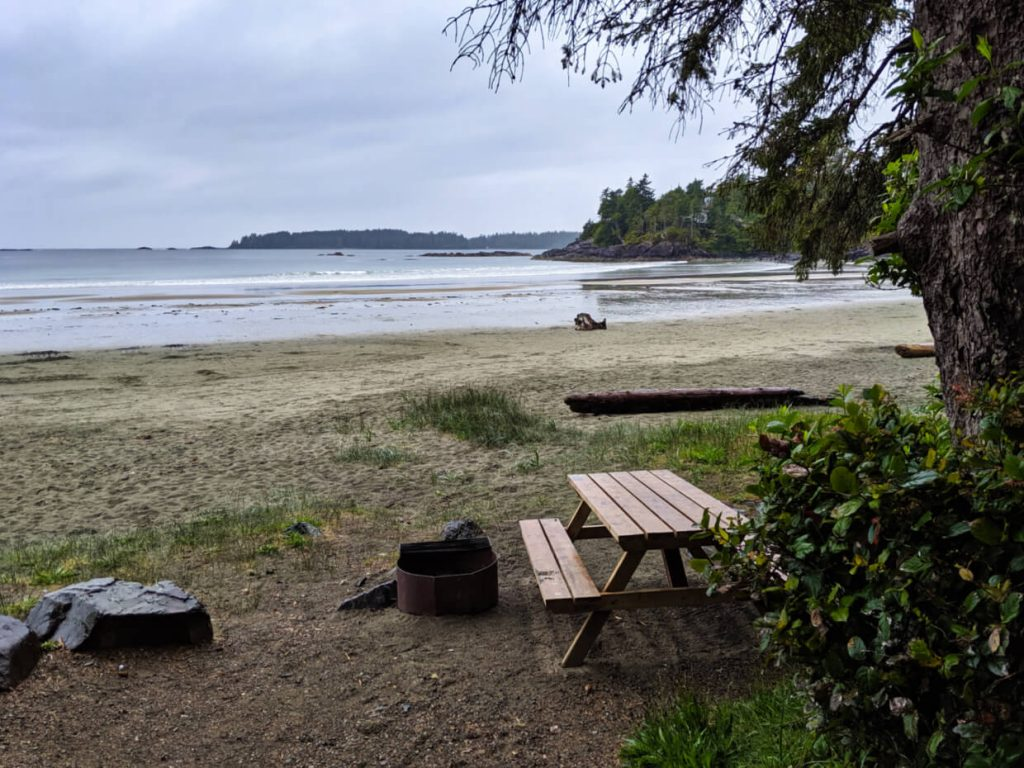 A beachside campsite (with picnic table and fire ring) with close views of the beach beyond
